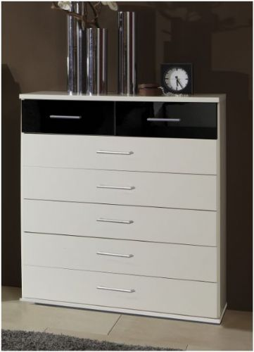 Milano Black and White Large Chest Of Drawers - 2294